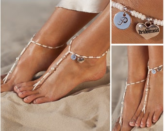 Personalized jewelry, Bridesmaid unique gift, Barefoot sandals, Wedding gift, Initial gift, Women's anklet, Bridal party gift, Beach wedding