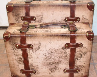 Vintage Style Brown luggage with Map
