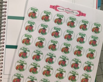 Christmas Shopping Wrap Presents Planner Stickers- Erin Condren Planner Stickers