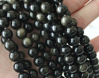 8mm Round Beads, Gold Sheen Obsidian, Natural Gemstone, AA Gemstone, Black Beads, Gold Beads, Round Beads, Earthy Beads,