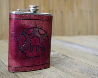 Leather Wrapped Flask - 1UP