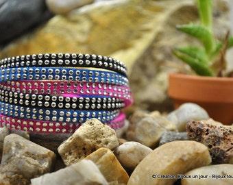 """Bracelet """"Ramin"""" pink suede / black / blue"""