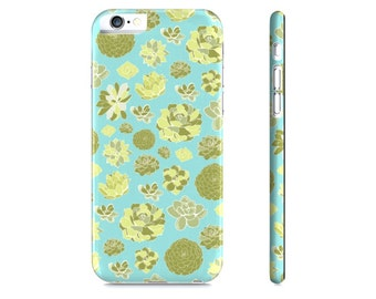 Succulents Phone Case - Succulent iPhone Case - Cactus iPhone 6 Case - Blue Phone Case - Succulent Case for Samsung Galaxy - The Mad Case