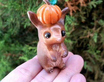SALE! Little fall rabbit totem//polymer clay figure//halloween//autumnal//collectible//gifts for him//gifts for her//bunny rabbit/
