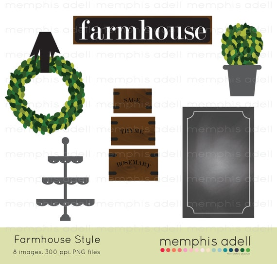 Farmhouse Style Digital Image Clip Art For Scrapbooking Invitations And More