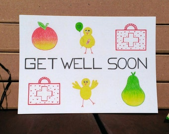 Card Get Well Soon - A6 Postcard - Blank Card - Get Well Card - Get Well Soon Card - Card Recycled Paper.