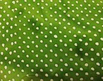 1 Yard Kelly Green White Polka Dots Batik