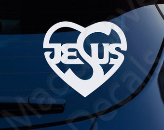 Jesus Heart Christian Decal Car Laptop Graphic Sticker Window