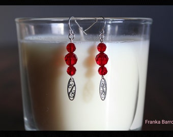Red crystal and silver earrings