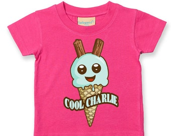 Personalised Ice Cream Name- (Enter Own Name) - Soft Cotton Child's T-Shirt- KTS1248