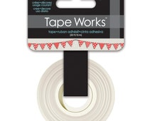 15mm Tape Works Red Bunting Banner Washi Tape. Cute Tape. Banner Tape. Red Washi Tape.