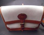 Vintage Dooney and Bourke Rare Buckle Closure White Color Pebble Leather with British Tan Leather Trim Handbag