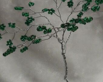 Handmade Seed Bead Wire Tree Sculpture