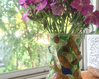 Authentic Seaglass Mosaic Bud Vase