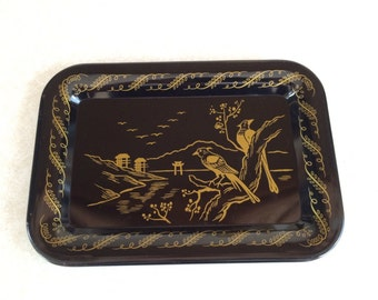 Black and Gold Small Tin Tray Asian Design