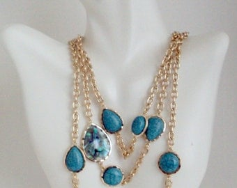 Turquoise Necklace, Multi Strand Turquoise Necklace, Layered Gold Chain with Turquoise Stone, Elegant Bib Necklace
