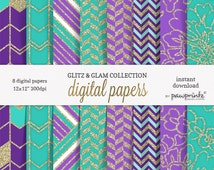Purple and Turquoise Digital Paper//Purple and Glitter Digital Paper//Turquoise Digital Paper//Purple Floral Geometric Pattern