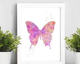 Buterfly pink art, Watercolor Art, Illustration Print, Home Decor, Baby Art, Gift Idea, Nursery,