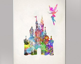 Castle And Tinkerbell Disney Castle Cindirella Castle Disney Watercolor Print Print Children S