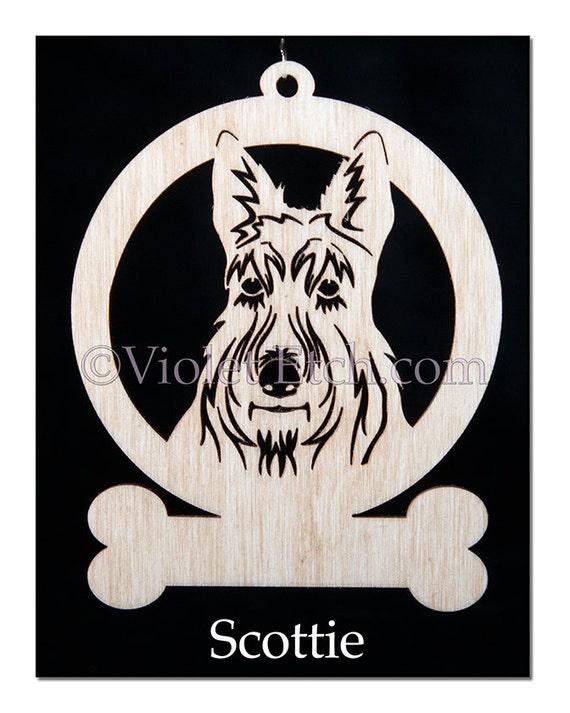 Scottie-Scottie Ornament-Scottie Gift-Wood Scottie Ornament-Free Personalization