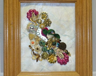 Jewelry Art, Framed Lady, Vintage Brooches, Floral, Memory Keepsake, Home Decor, Accessories