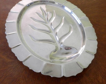 1940s Early American International Silver Co Footed Carving Tray Turkey Meat Platter #4133 18 inch