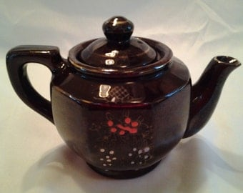 Vintage Redware Teapot, Two-Cup Teapot, Brown Teapot with Painted Designs,