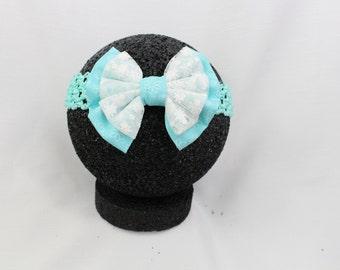 Teal flower sparkly headband