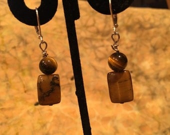 Tiger eye brown dangle earrings