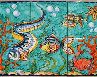 Hand Painted Tile Mural - Orange Coral Under the Sea of Vietri Italy - Deep Sea Decor - Bathroom Decor - Decorative Tiles - Backspalsh idea