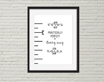Mary Poppins printable wall quote, black and white Dysney printable quote, minimal modern quote
