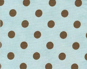 Aqua blue background with Brown polka dots