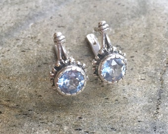 Blue Topaz Earrings, Natural Topaz, December Birthstone, Vintage Earrings, Blue Vintage Earrings, December Earrings, Silver Earrings