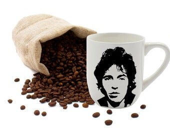 Bruce Springsteen, Coffee Cup, Coffee Mug, Painted Coffee Mug, 12oz Coffee Mug, White Coffee Mug, Coffee, Latte, Tea, White Cup, Off White