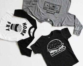 Set of Three Mochi Kids Shirts, Baby Kids Toddler Graphic t, Kawaii graphic tee shirt, Modern Monochrome kids shirt, unique kids gift