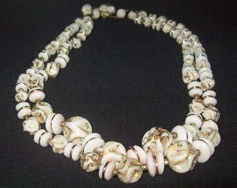 1950s/60s stone and bead necklace with gold detail