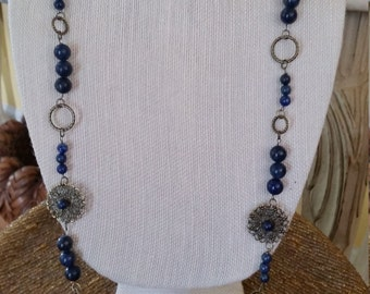 Handmade Long Dark Blue Lapis Beaded Necklace