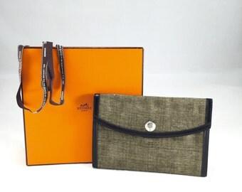 Authentic Hermes Canvas Envelope Clutch Bag