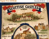 SALE 25% OFF Vintage Pure Cotton Scottish Castles Souvenir Tea Towel - By artist Clive Mayor - Vista - Scotland Heritage Tea Towel