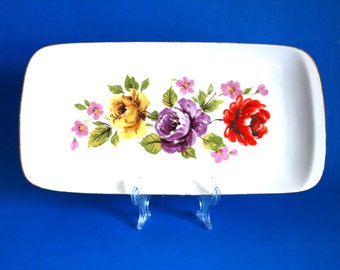 Westminster Fine China Inga Plate - Vintage Roses Flower Floral Serving Platter Tray Dish 1238 - Made in Australia