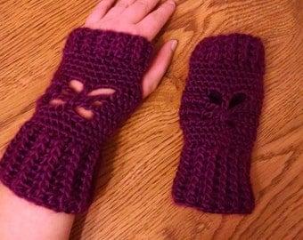 Butterfly fingerless gloves, wristers, muffs, made to order crochet