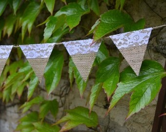 Mini Burlap and Ivory Lace Bunting