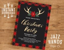 Christmas Party Invitation Template | DIY Printable | Holiday Party Invitation | Modern Christmas Invitation | Deer Antlers | Gold Foil