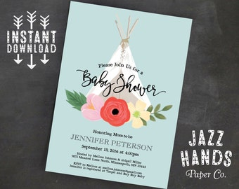 TeePee Boho Chic Baby Shower Invitation Template   Baby Boy   Tee Pee Baby Shower   Boho Baby Shower   Rustic Floral   Blue