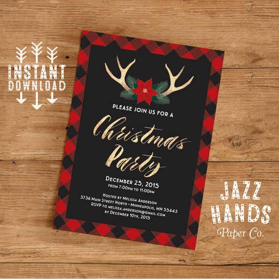 christmas party invitation template diy printable holiday. Black Bedroom Furniture Sets. Home Design Ideas