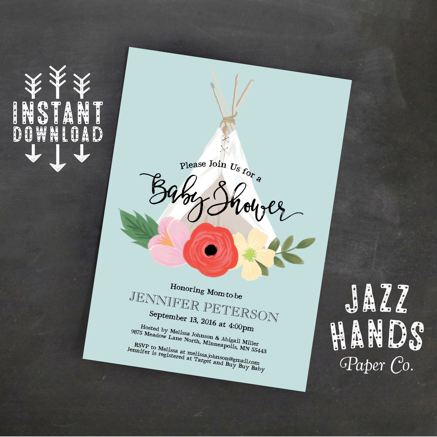 TeePee Boho Chic Baby Shower Invitation Template Baby Boy