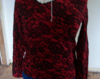Womens Worthington Red Floral Medium Top