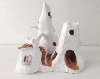 Village Sardinia ceramics sculpture | ceramic christmas ornament