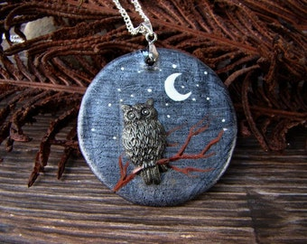 Pendant with owl Owl on a branch Black and silver Casual style