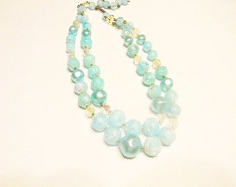 Vintage Nacklace, Aqua and Clear Double Strand